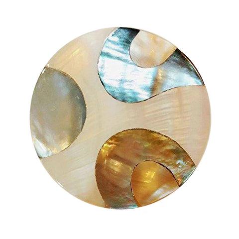 2 inch Mother of Pearl & Abalone Oversized Cabinet & Furniture Knob (Polished Chrome Finish)