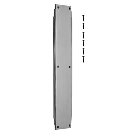 14 Inch Solid Brass Art Deco Skyscraper Push Plate (Brushed Nickel Finish)