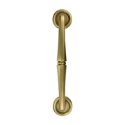 10 Inch Solid Brass Door Pull With Rosettes (Antique Brass Finish)