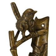 9 1/2 Inch Solid Brass Bamboo and Wren Bird Pull (Right Facing, Antique Brass Finish)