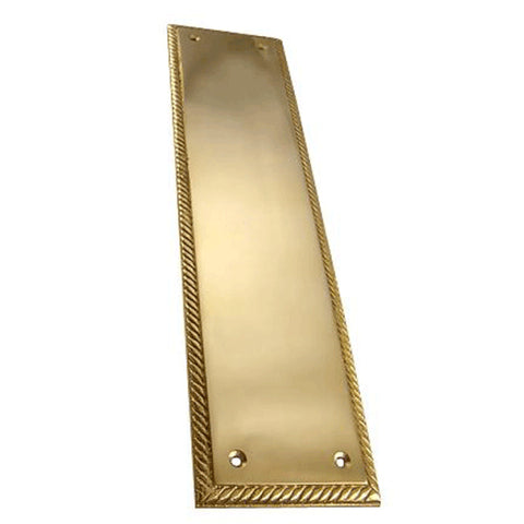 11 1/2 Inch Solid Brass Georgian Roped Style Door Pull and Plate (Lacquered Brass Finish)