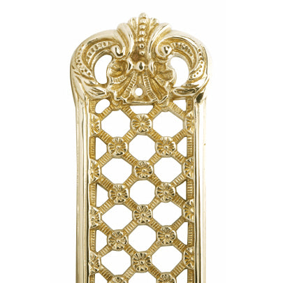 12 Inch Solid Brass Finger Push Plate: Trellis Lattice Work (Lacquered Brass Finish)
