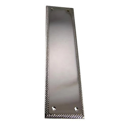 11 1/2 Inch Georgian Roped Style Door Push Plate (Polished Chrome)