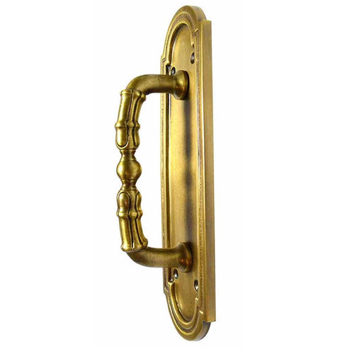 8 3/8 Inch Solid Brass Arched Style Pull Plate (Antique Brass Finish)