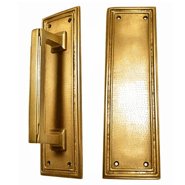 10 Inch Solid Brass Classic Style Push and Pull Plate Set (Antique Brass Finish)