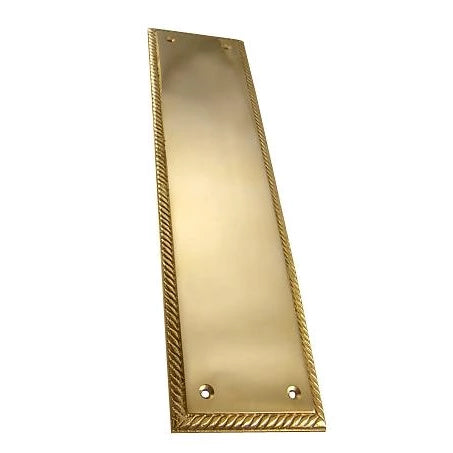 11 1/2 Inch Georgian Roped Style Door Push Plate Polished Brass Finish