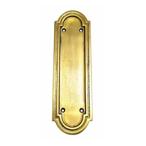 8 3/8 Inch Solid Brass Rounded Georgian Pattern Push Plate (Antique Brass Finish)