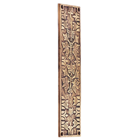 10 Inch Solid Brass Art Deco Push Plate  (Antique Brass Finish)