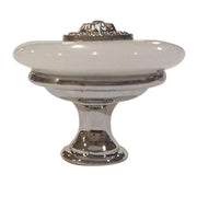 1 3/8 Inch White Jade Cabinet or Furniture Knob (Polished Chrome Finish)
