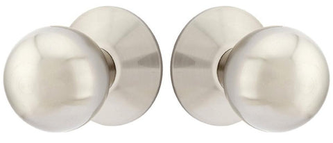 Solid Brass Orb Door Knob Set With Modern Rosette (Several Finishes)