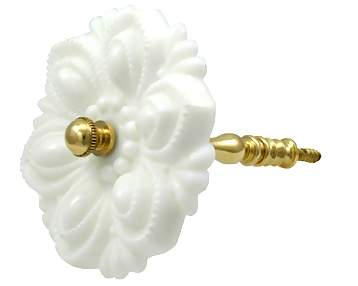 4 1/4 Inch Solid Milk Glass Curtain Tie Back with Brass Mount