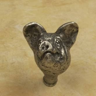 Anne at Home 1 3/4 Inch Pig Head Cabinet Knob (Bright Pewter Finish)