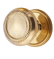 Solid Brass Large Georgian Roped Door Knob Set