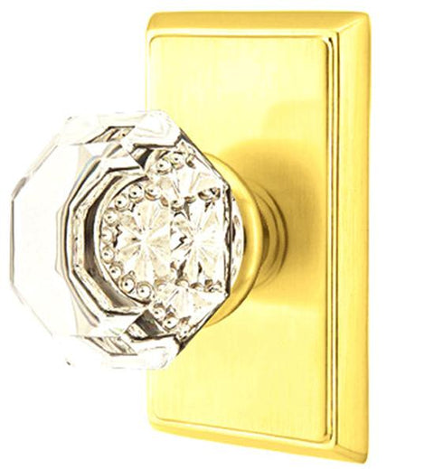 Emtek Crystal Old Town Clear Door Knob Set With Rectangular Rosette