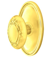 Solid Brass Victoria Door Knob Set With Oval Rosette