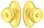 Solid Brass Waverly Door Knob Set With Oval Rosette