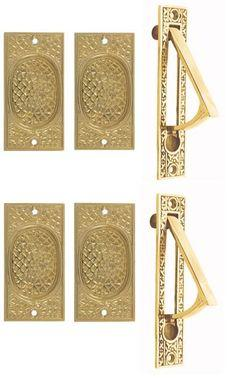 Craftsman Pattern Double Pocket Passage Style Door Set (Polished Brass Finish)