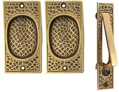 Craftsman Pattern Single Pocket Passage Style Door Set (Antique Brass Finish)