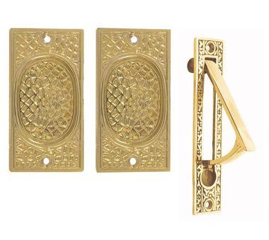 Craftsman Pattern Single Pocket Passage Style Door Set (Polished Brass Finish)