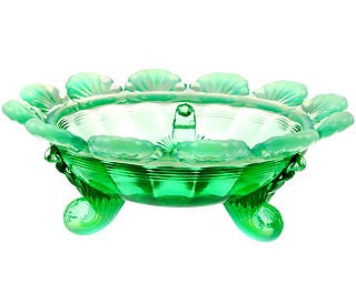 Footed Berry Bowl - Green Opalescent Glass