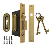Georgian Oval Pattern Single Pocket Privacy (Lock) Style Door Set (Antique Brass)