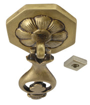 3 Inch Solid Brass Flowered Drop Pull (Antique Brass Finish)