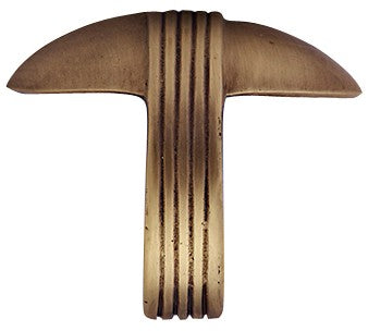 2 5/8 Inch Overall (2 Inch c-c) Solid Brass Art Deco Pull (Antique Brass Finish)