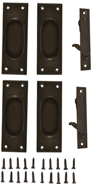 New Traditional Square Pattern Double Pocket Passage Style Door Set (Oil Rubbed Bronze)