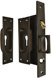New Traditional Square Pattern Single Pocket Privacy (Lock) Style Door Set (Oil Rubbed Bronze)