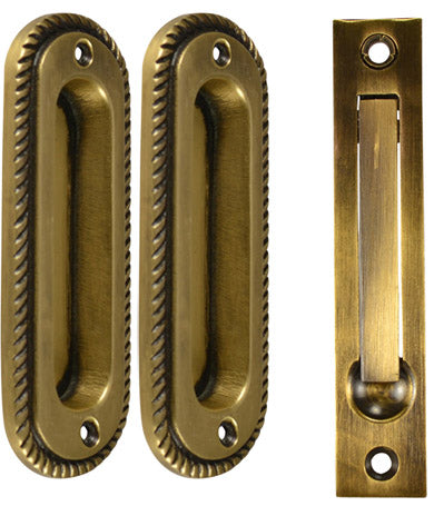 Georgian Single Pocket Passage Style Door Set (Antique Brass Finish)