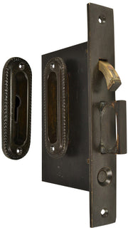 Georgian Pattern Single Pocket Privacy (Lock) Style Door Set (Oil Rubbed Bronze Brass)