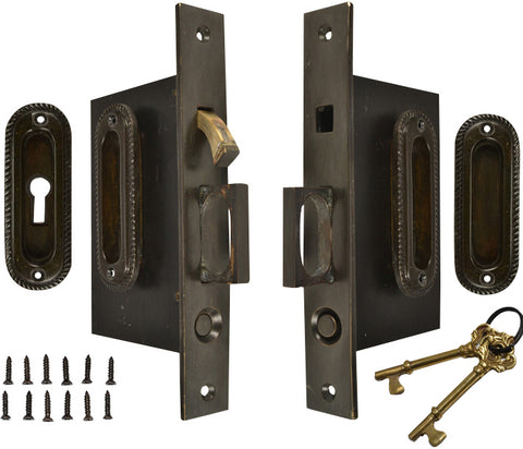 Georgian Pattern Double Pocket Privacy (Lock) Style Door Set (Oil Rubbed Bronze)