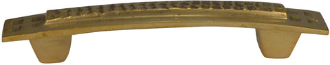 5 Inch Overall (3 1/2 Inch c-c) Solid Brass Craftsman Hammered Drawer Pull (Polished Brass Finish)