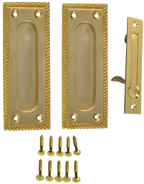 Georgian Square Single Pocket Passage Style Door Set (Polished Brass Finish)