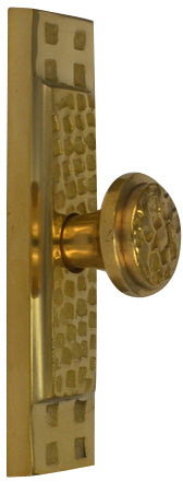 3 1/2 Inch (3 Inch c-c) Rectangular Craftsman Cabinet Knob With Backplate (Polished Brass Finish)