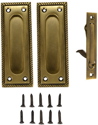 Georgian Square Single Pocket Passage Style Door Set (Antique Brass Finish)
