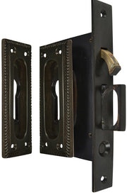 Georgian Square Pattern Single Pocket Privacy (Lock) Style Door Set (Oil Rubbed Bronze)