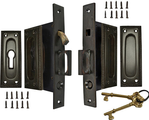 Georgian Square Pattern Double Pocket Privacy (Lock) Style Door Set (Oil Rubbed Bronze)