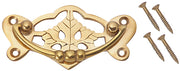 4 Inch Solid Brass Ornate Broken Leaf Bail Pull Polished Brass Finish