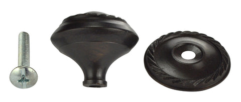 1 1/4 Inch Solid Brass Georgian Roped Round Knob (Oil Rubbed Bronze Finish)