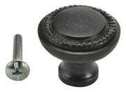 1 1/4 Inch Solid Brass Round Knob with Beaded Pattern Border (Oil Rubbed Bronze Finish)