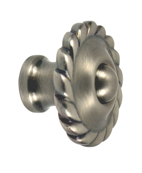 1 1/2 Inch Solid Brass Georgian Roped Knob (Antique Nickel Finish)