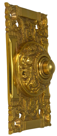 4 1/4 Inch Art Nouveau Solid Brass Doorbell (Polished Brass Finish)