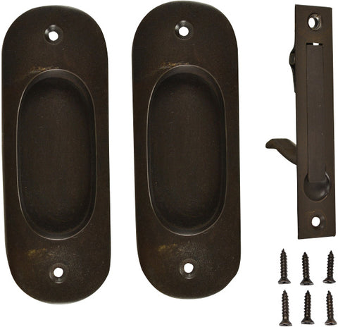 Traditional Oval Pattern Single Pocket Passage Style Door Set (Oil Rubbed Bronze Finish)