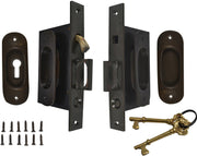 Traditional Oval Pattern Double Pocket Privacy (Lock) Style Door Set (Oil Rubbed Bronze)