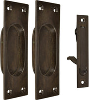 New Traditional Square Pattern Single Pocket Passage Style Door Set (Oil Rubbed Bronze Finish)