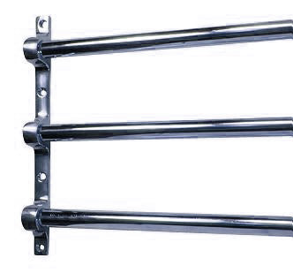 36 Inch Solid Brass Triple Push Bar (Polished Chrome Finish)