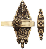French Door or Cabinet Slide Bolt Latch (Antique Brass Finish)