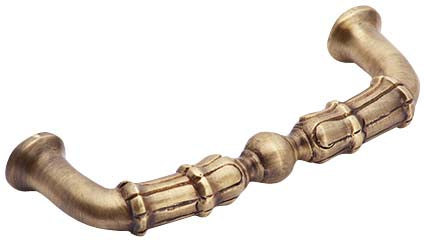 5 Inch Overall (4 1/3 Inch c.c.) Solid Brass Victorian Style Pull (Antique Brass Finish)