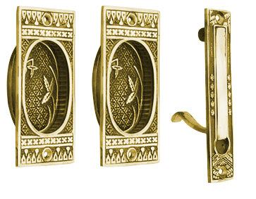 Broken Leaf Single Pocket Passage Style Door Set Polished Brass Finish